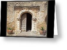 Mission San Jose Chapel Entry Doorway Greeting Card by John Stephens
