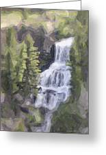 Misty Falls Greeting Card by Jo-Anne Gazo-McKim