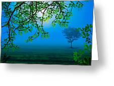 Misty Night Greeting Card by Bedros Awak
