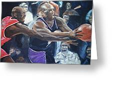 Mitch Richmond And Michael Jordan Greeting Card by Paul Guyer