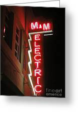 Mm Electric Sign At Night Greeting Card by Gregory Dyer