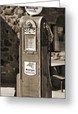 Mobilgas Special - Wayne Pump - Sepia Greeting Card by Mike McGlothlen