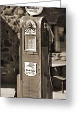 Mobilgas Special - Wayne Pump - Sepia Greeting Card by Mike McGlothlen