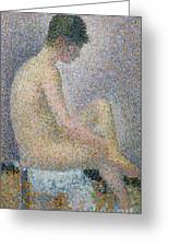 Model In Profile Greeting Card by Georges Pierre Seurat