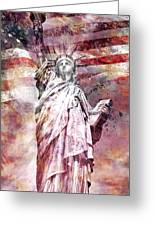 Modern Art Statue Of Liberty Red Greeting Card by Melanie Viola