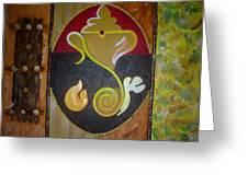 Mixed Media Ganesha Greeting Card by Poornima Ravi