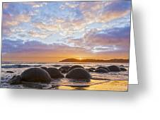 Moeraki Boulders Otago New Zealand Sunrise Greeting Card by Colin and Linda McKie