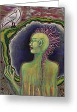 Mohawk Warrior Woman Greeting Card by Annette Wagner