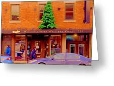 Moishes On The Main At Christmas Time Montreal Restaurant Winter City Scene Art Carole Spandau Greeting Card by Carole Spandau