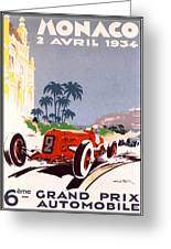 Monaco Grand Prix 1934 Greeting Card by Georgia Fowler