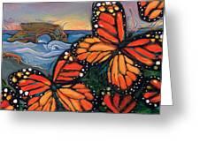 Monarch Butterflies at Natural Bridges Greeting Card by Jen Norton