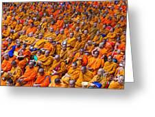 Monk Mass Alms Giving In Bangkok Greeting Card by Fototrav Print