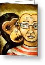 Monkey On My Back Greeting Card by Michael Alvarez