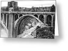 Monroe Street Bridge Iced Over - Spokane Washington Greeting Card by Daniel Hagerman