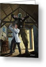 Monster In Victorian Science Laboratory Greeting Card by Martin Davey