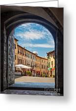 Montalcino Loggia Greeting Card by Inge Johnsson