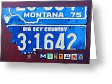 Montana License Plate Map Greeting Card by Design Turnpike