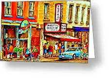 Montreal Bike Path Reserved Lane Cyclists Drive By Schwartzs Deli  Line-up Montreal Paintings Greeting Card by Carole Spandau