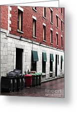 Montreal Garbage Cans Greeting Card by John Rizzuto
