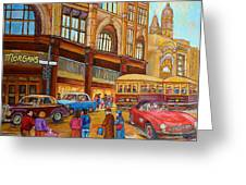 Montreal Memories-streetcars-morgan's Department Store At St.catherine And Union Greeting Card by Carole Spandau