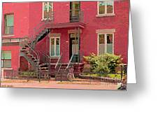 Montreal Memories The Old Neighborhood Timeless Triplex With Spiral Staircase City Scene C Spandau  Greeting Card by Carole Spandau