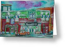 Montreal Pharmacy Greeting Card by Michael Litvack