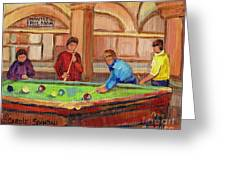 Montreal Pool Room Greeting Card by Carole Spandau