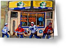 Montreal Pool Room City Scene With Hockey Greeting Card by Carole Spandau
