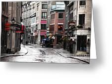 Montreal Street Scene Greeting Card by John Rizzuto