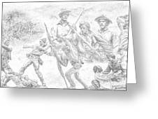 Monuments On The Gettysburg Battlefield Sketch Greeting Card by Randy Steele