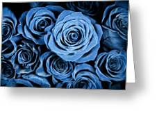 Moody Blue Rose Bouquet Greeting Card by Adam Romanowicz