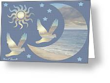 Moon And Stars Greeting Card by Diane Romanello