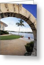 Moon Gate In Bermuda Greeting Card by George Oze