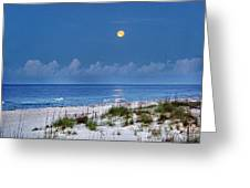 Moon Over Beach Greeting Card by Michael Thomas