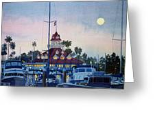 Moon over Coronado Boathouse Greeting Card by Mary Helmreich