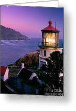 Moon Over Heceta Head Greeting Card by Inge Johnsson