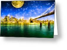 Moon Over Manhattan Greeting Card by Mark E Tisdale