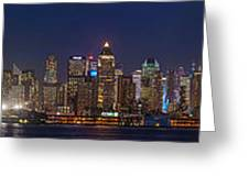 Moon Over Manhattan Greeting Card by Mike Reid