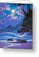 Moon Over Maui Greeting Card by David Lloyd Glover