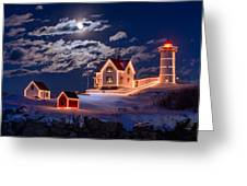 Moon Over Nubble Greeting Card by Michael Blanchette