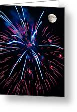 Moon Over Red White And Blue Starburst- July Fourth - Fireworks Greeting Card by Penny Lisowski