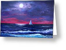 Moon Over Sunset Harbor Greeting Card by Amy Scholten