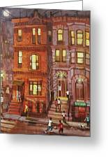 Moon Over Third Street Greeting Card by Tom Shropshire