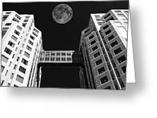Moon Over Twin Towers Greeting Card by Samuel Sheats