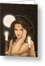 Moon Priestess Greeting Card by John Silver