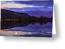 Moon Rising Over Loch Ard Greeting Card by John Farnan