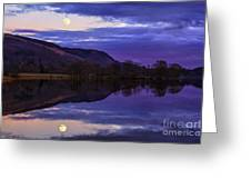 Moon Rising Over Loch Ard Greeting Card by John Farnan