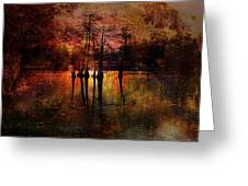 Moon Setting Over Reelfoot Lake Greeting Card by J Larry Walker