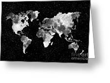 Moon World Map Greeting Card by Delphimages Photo Creations
