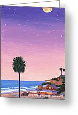 Moonlight Beach At Dusk Greeting Card by Mary Helmreich